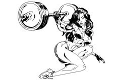 La muchacha aumenta el barbell pesado ilustración del vector