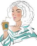 La muchacha bebe el café de una taza Imagen de archivo libre de regalías