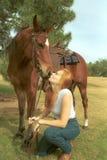 La muchacha besa el caballo fotos de archivo