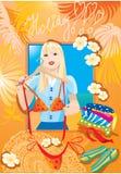 La muchacha blondy hermosa intenta encendido el bikiní ilustración del vector