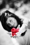 La muchacha bonita da un manojo de rosas rojas Imagenes de archivo