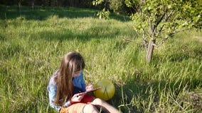 La muchacha bonita del adolescente hace bosquejos del lápiz mientras que se sienta en el parque Cámara del movimiento con el stea almacen de metraje de vídeo