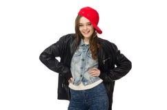 La muchacha bonita en la chaqueta de cuero aislada en blanco Imagen de archivo libre de regalías