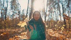 La muchacha bonita está jugando con licencia del arce en las manos, sentándose en bosque de la caída metrajes