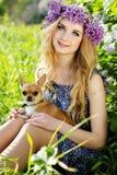 La muchacha bonita está sosteniendo su pequeño perro Imagen de archivo libre de regalías