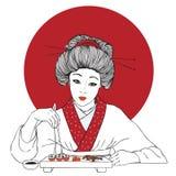 La muchacha bonita japonesa tradicional goza del sushi stock de ilustración