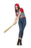 La muchacha bonita que sostiene el bate de béisbol aislado en blanco Fotografía de archivo