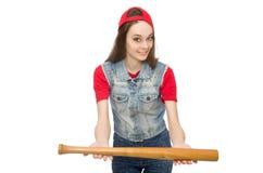 La muchacha bonita que sostiene el bate de béisbol aislado en blanco Fotografía de archivo libre de regalías