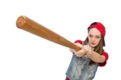 La muchacha bonita que sostiene el bate de béisbol aislado en blanco Fotos de archivo