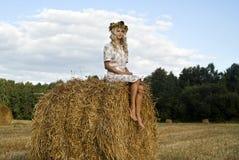 La muchacha bonita se sienta en haystack Imágenes de archivo libres de regalías