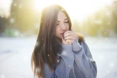 La muchacha camina abajo de la calle en invierno Foto de archivo libre de regalías