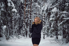 La muchacha camina en el bosque del invierno Foto de archivo libre de regalías