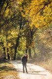 La muchacha camina en parque hermoso del otoño Imagen de archivo
