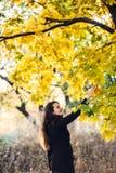 La muchacha camina en parque hermoso del otoño Fotos de archivo libres de regalías