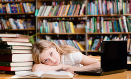 La muchacha cansada en la biblioteca enseña antes de exámenes Imagenes de archivo
