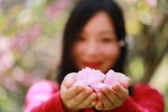La muchacha causual descuidada libre de la belleza con las flores en parque de la primavera disfruta de tiempo libre Imagen de archivo libre de regalías