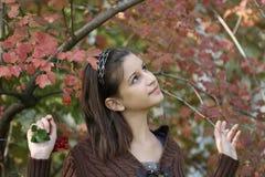 La muchacha cerca del arbusto Fotos de archivo