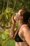 La muchacha come las uvas en árbol Foto de archivo