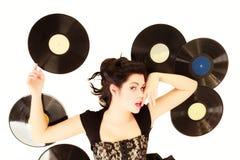 La muchacha con análogo del phonography registra al amante de la música Fotos de archivo libres de regalías