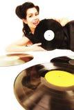 La muchacha con análogo del phonography registra al amante de la música Fotografía de archivo libre de regalías
