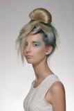 La muchacha con el colorante de pelo profesional y creativos componen en estilo del pavo real Imagen de archivo libre de regalías