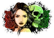 La muchacha con el esqueleto compone bosquejo dibujado mano del vector D?a del ejemplo de la acci?n del retrato de la bruja de la libre illustration