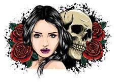 La muchacha con el esqueleto compone bosquejo dibujado mano del vector D?a del ejemplo de la acci?n del retrato de la bruja de la ilustración del vector