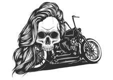 La muchacha con el esqueleto compone bosquejo dibujado mano del vector Ejemplo de la acci?n del retrato de la bruja de la mujer d libre illustration
