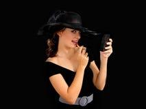 La muchacha con el lápiz labial Imagen de archivo