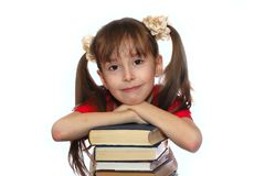 La muchacha con el libro Fotos de archivo libres de regalías