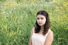 La muchacha con el pelo oscuro en fondo de la hierba verde Foto de archivo