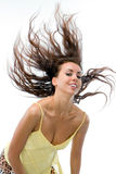 La muchacha con el pelo que agita Fotografía de archivo libre de regalías