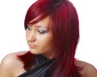 La muchacha con el pelo rojo Imagenes de archivo