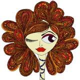 la muchacha con el pelo rojo Imagen de archivo