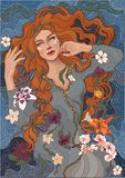 La muchacha con el pelo rojo se baña en el río libre illustration