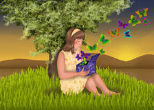 La muchacha con el rectángulo mágico Imagen de archivo libre de regalías