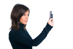 La muchacha con el teléfono Fotos de archivo