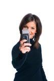 La muchacha con el teléfono Imágenes de archivo libres de regalías