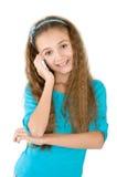 La muchacha con el teléfono móvil Foto de archivo