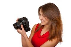 La muchacha con la cámara Fotografía de archivo
