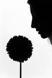 La muchacha con la flor en un fondo blanco Foto de archivo libre de regalías