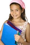 la muchacha con las carpetas, alista para la escuela. Fotos de archivo