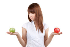 La muchacha con las manzanas Imagen de archivo
