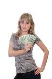 La muchacha con los dólares Imagen de archivo