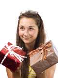 La muchacha con los regalos Imagen de archivo libre de regalías