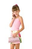 La muchacha con un bolso rosado Fotografía de archivo libre de regalías