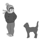 La muchacha con un gatito Foto de archivo