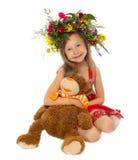 La muchacha con un oso de peluche preferido Fotos de archivo libres de regalías
