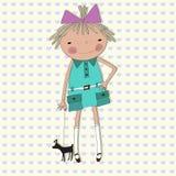 La muchacha con un pequeño perro en un fondo de corazones Fotos de archivo