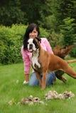 La muchacha con un perro Imagen de archivo libre de regalías